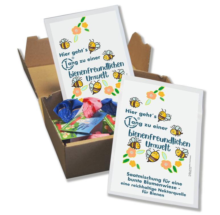 Osteraktion Geschenkbox mit Saatmischung für eine bunte Blumenwiese - Sowing Bags