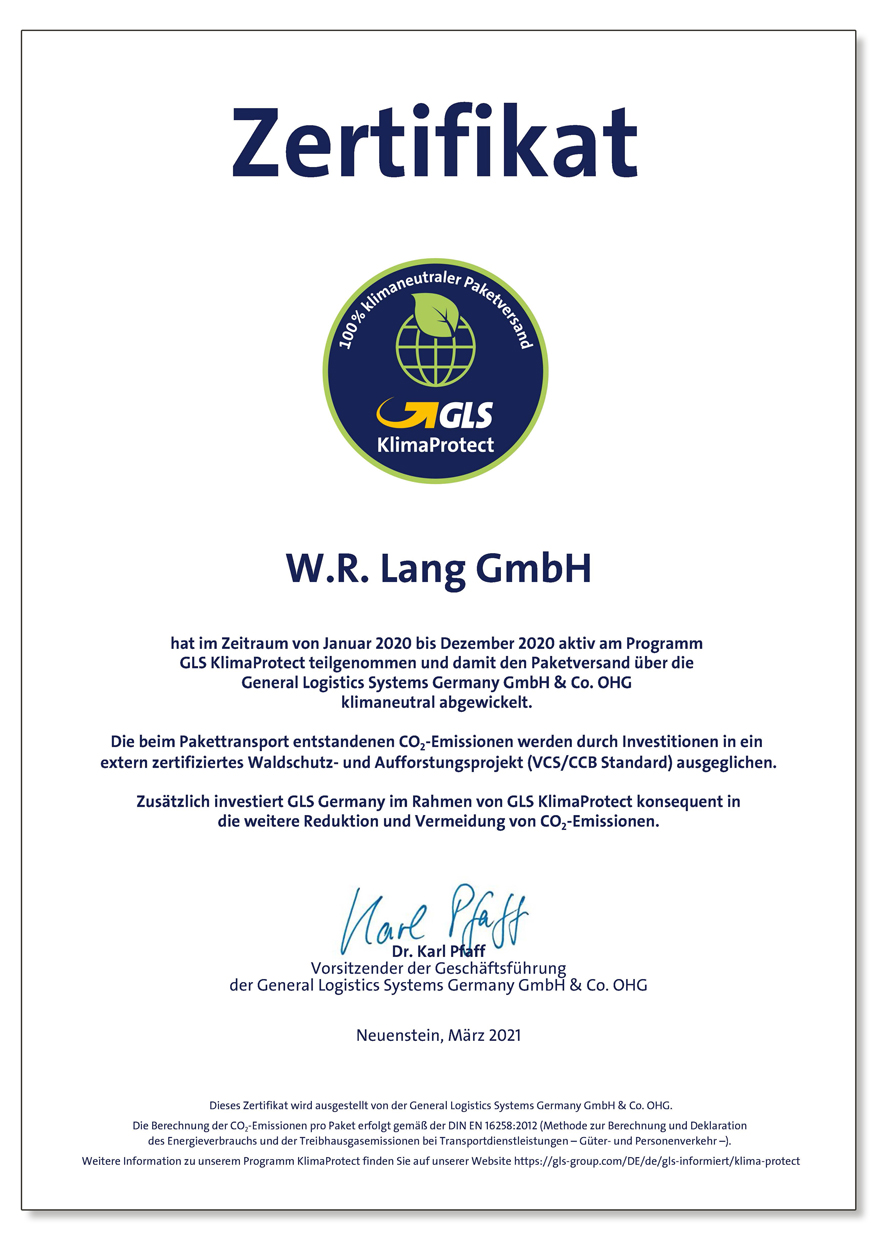 Our First Certificate from GLS KlimaProtect