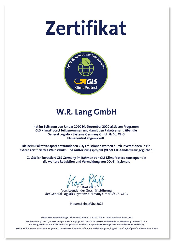 Unser erstes Zertifikat von GLS KlimaProtect